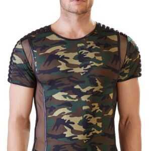 Shirt mit Camouflage-Print und Netz-/Mattlook-Details