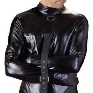 Zwangsjacke aus Lederimitat mit verstellbarem Riemen durch den Schritt