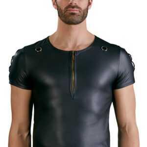 Shirt im schwarzen Mattlook mit kurzem Reißverschluss