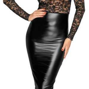 Kleid im edlen Mix aus Spitze und Powerwetlook