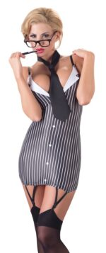 Kleid mit Strapsen plus Krawatte